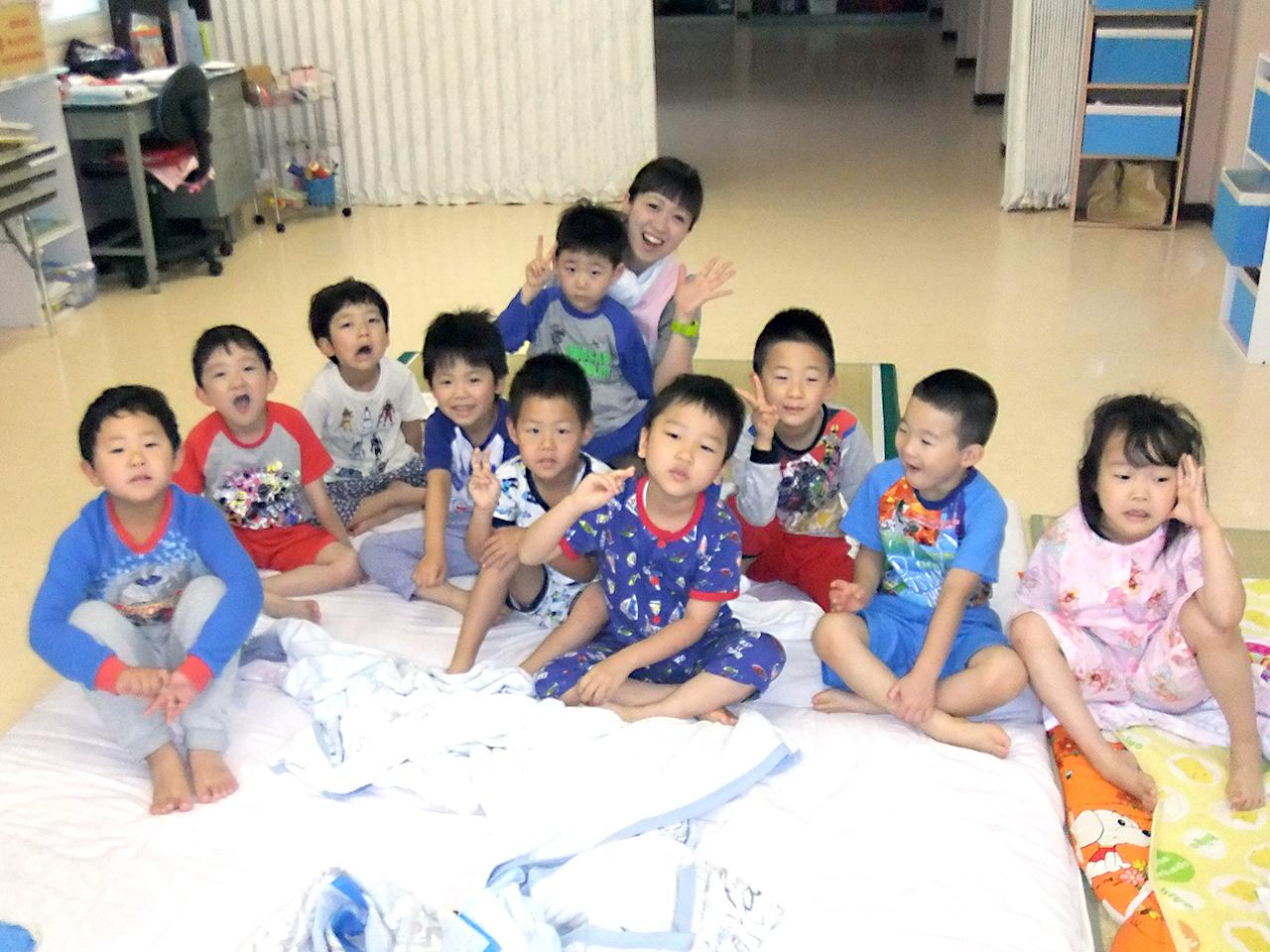 幼稚園にお泊り!おはよう!